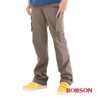 【BOBSON】男款休閒百搭側口袋直筒褲(灰綠1682-41)