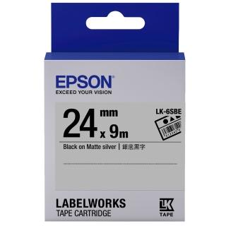 【EPSON】標籤機色帶銀底黑字/24mm(LK-6SBE)
