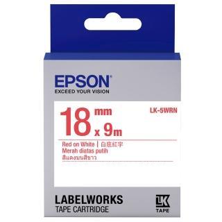 【EPSON】標籤機色帶白底紅字/18mm(LK-5WRN)