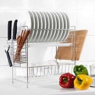【達人收納】304不鏽鋼免組裝雙層碗盤瀝水架/