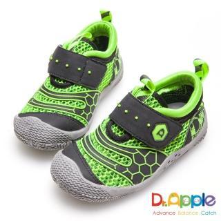 【Dr. Apple 機能童鞋】帥氣LOGO懷舊印刷透氣中童鞋(綠)