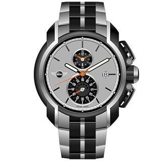 【MINI Swiss Watches】簡約英倫風範運動計時鋼帶腕錶-黑x灰(MINI-34)