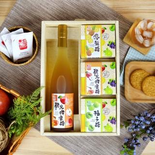 【上班這黨事推薦】醋桶子幸福果醋4入禮盒組(蘋果蜂蜜醋+隨身包3盒)