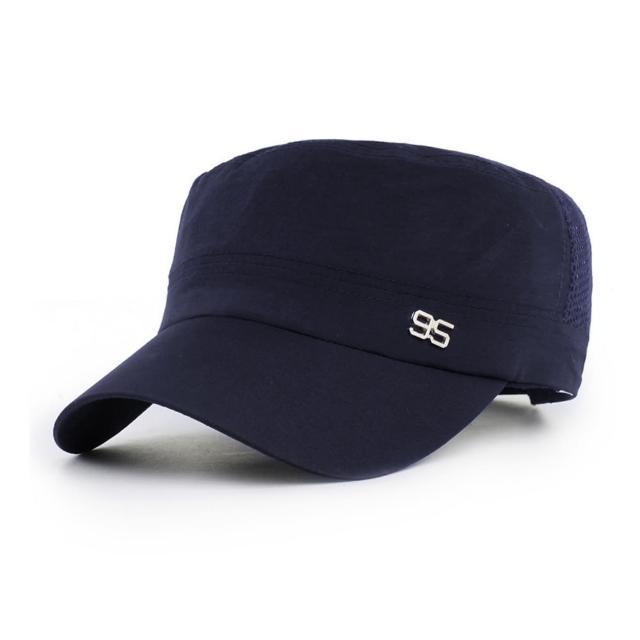【幸福揚邑】防曬涼感速乾吸濕排汗潮流軍帽平頂帽-時尚藍