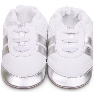 【shooshoos】安全無毒真皮健康手工學步鞋/嬰兒鞋/室內鞋/室內保暖鞋_銀白運動型_101069(公司貨)