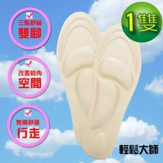 【輕鬆大師】6D釋壓高科技棉按摩鞋墊-男用卡其色*1雙(輕鬆大師、類氣壓鞋墊)