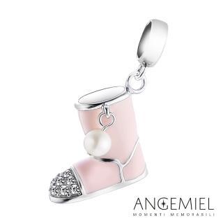 【Angemiel安婕米】925純銀珠飾 Dream童話系列 粉紅雪靴 吊飾
