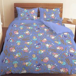 【享夢城堡】雙人床包涼被四件式組(三麗鷗 55週年太空風-粉紅.藍紫)