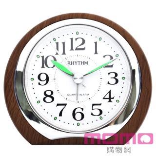 【RHYTHM日本麗聲】簡約自然系輕巧木紋小鬧鐘(焦糖白橡木色)