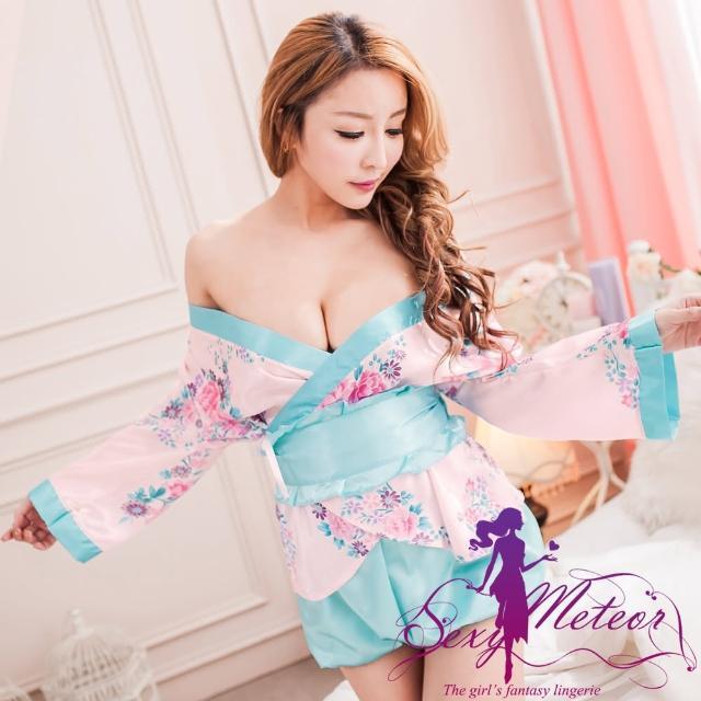 【Sexy Meteor】PA2183花卉大和情緣開襟和服罩衫四件式角色伴演睡衣組(戀愛粉藍)