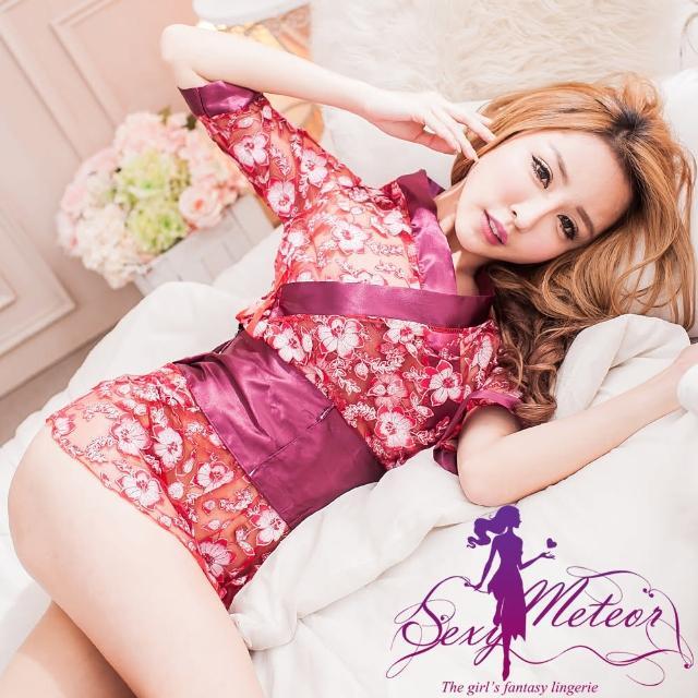 【Sexy Meteor】PA2191全尺碼-浪漫古典網紗蕾絲罩衫四件式性感睡衣組(妍棗紅)
