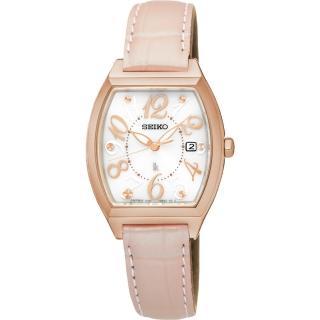 【SEIKO】LUKIA 遇見時刻太陽能女錶-白x粉色錶帶/26mm(V137-0CE0P  SUT290J1)