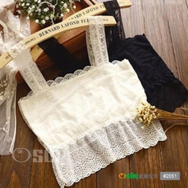 【Osun】蕾絲小可愛背心 夏季百搭蕾絲雙肩(短款2入 黑/白 CE176-2051)