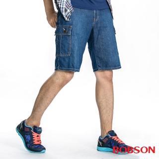 【BOBSON】男款衣絲不罣涼爽貼袋短褲(藍184-53)