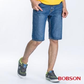 【BOBSON】男款衣絲不罣涼爽短褲(藍185-58)