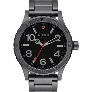 【NIXON】46 品牌潮流躍動運動腕錶-灰框黑(A916632)