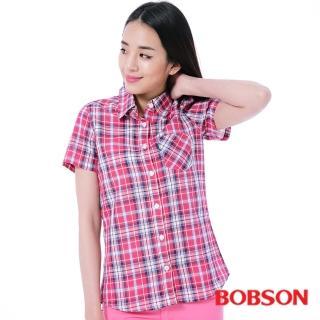 【BOBSON】女款格子襯衫(桃紅25136-13)