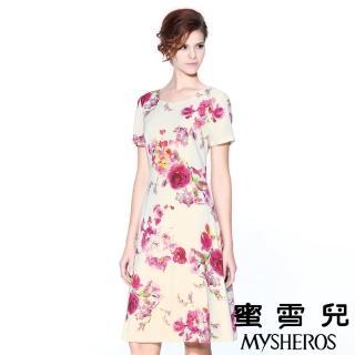 【蜜雪兒mysheros】純棉玫瑰印花洋裝(米)