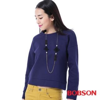 【BOBSON】女款搭配蕾絲布上衣(藍35075-57)