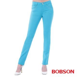 【BOBSON】女款超手感彈力小直筒褲(藍8113-50)