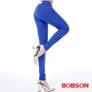 【BOBSON】女款低腰彩色涼爽紗緊身褲(藍8130-50)