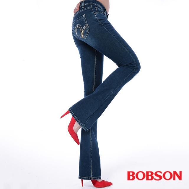 【BOBSON】女款亮鑽超彈力小喇叭褲(9094-53)限量出清