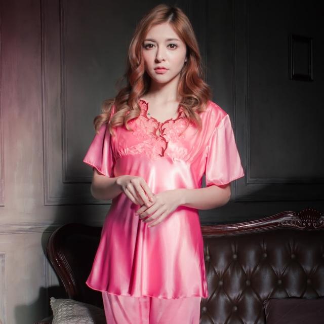 【Beauty's Secret】SK9058復古風冰絲衣褲組(粉)