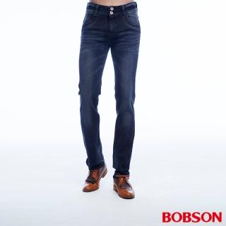 【BOBSON】男款低腰雙釦彈性直筒褲(藍1801-52)
