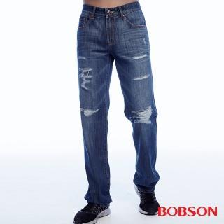 【BOBSON】男款低腰刷破補釘直筒褲(1818-53)