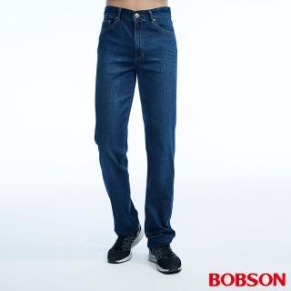 【BOBSON】男款高腰貓鬚刷白直筒褲(1819-53)