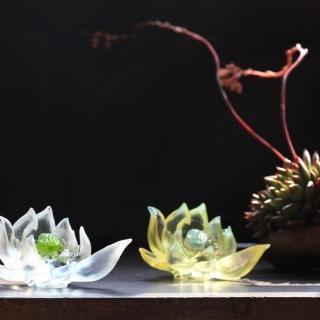 【琉璃工房LIULI】清靜自心 荷花(適合收藏  新居喬遷 生日 節日贈禮)