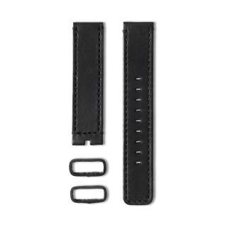 【22】植揉皮革車線錶帶-黑色/20mm(22-LS01101)