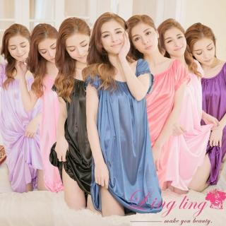 【lingling】日系-PA2880大尺碼-抓褶素面冰絲短袖蕾絲花邊連身裙睡衣(沉穩藍)