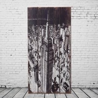 【OPUS LOFT純真年代】30X60仿舊木板畫/無框畫/掛畫擺飾(A36008-2 美國帝國大廈)