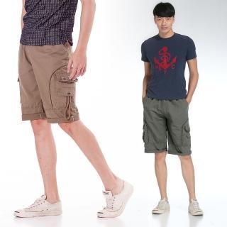 【EXPOSE】美式多口袋鬆緊工作休閒短褲(綠/卡其)