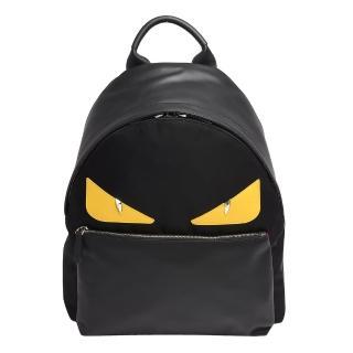 【FENDI】經典MONSTER怪獸造型小牛皮尼龍後背包(黑7VZ012-8FC-F0R2A)
