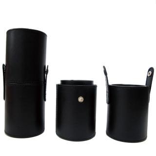 【Galatea葛拉蒂】短柄刷收納皮革圓筒(時尚黑)