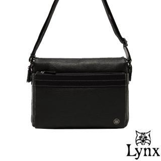 【Lynx】山貓真皮經典款極品型男橫式斜背包(小款)