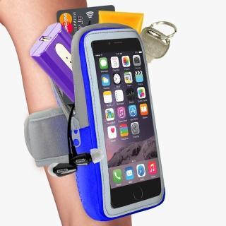 【活力揚邑】防水透氣排汗反光跑步自行車手機觸控雙層運動臂包臂套臂袋(5.7吋以下通用-藍色)