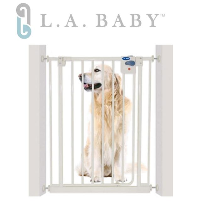 【美國 L.A. Baby】加高加寬-安全自動上鎖門欄/寵物門欄/兒童門欄(贈兩片延伸件)