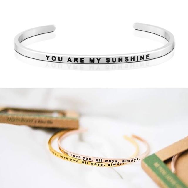 【MANTRABAND】美國悄悄話手環 You Are My Sunshine 銀色(悄悄話手環)促銷商品