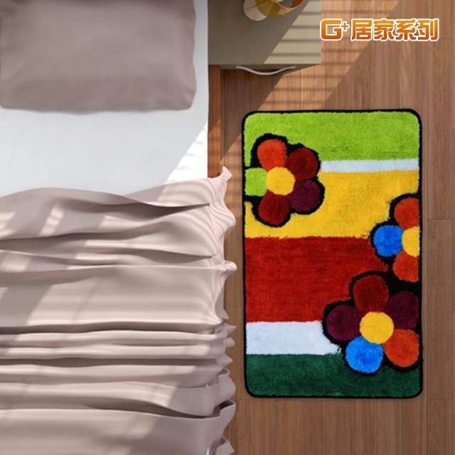 【G+居家】繽紛花朵超細纖維止滑地墊腳踏墊(40X60公分-長方形款)/