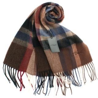 【S.T.Dupont】刺繡LOGO格紋混紡羊毛流蘇圍巾(咖啡色)