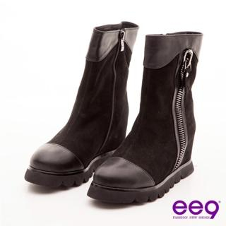 【ee9】俏皮甜心-巨無霸拉鍊裝飾包頭寬口中筒靴-甜美黑(中筒靴)