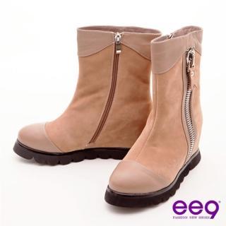 【ee9】俏皮甜心-巨無霸拉鍊裝飾包頭寬口中筒靴-百搭可可(中筒靴)