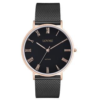 【LOVME】羅馬學院風米蘭時尚手錶-IP玫x黑帶/41mm(VM3012M-43-341)