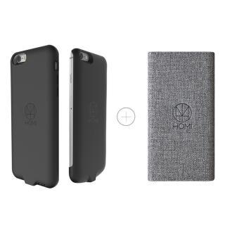 【HOMI】FabricDock 亞麻布面QI無線充電板 灰 + iPhone6/6s 4.7吋 防摔防震無線保(組合)