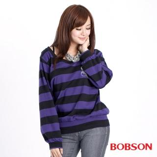 【BOBSON】女款雙色袖寬版長袖上衣(31077-01)