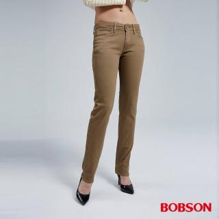 【BOBSON】女款熱感IN小直筒褲(卡其8038-72)