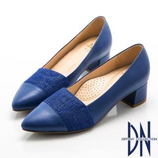 【DN】優雅OL   典雅金屬絲紋尖頭低跟鞋(藍)